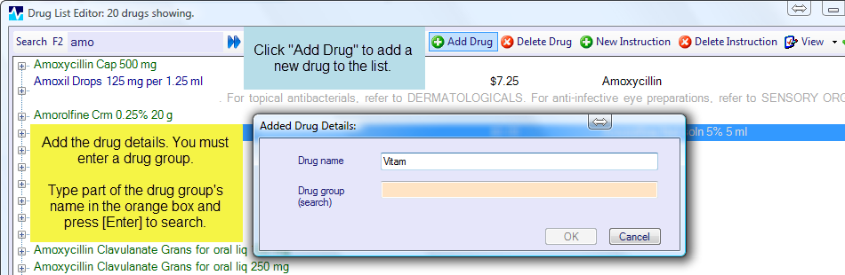Adding new drugs and instructions – MyPractice